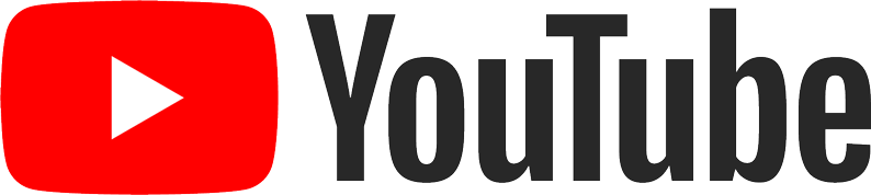 A white triangle facing to the right is on a red rectangle. The YouTube logo. Black font on the right hand side reads 'YouTube'.
