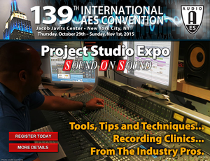 AES Project Studio Expo Returns to New York City at Upcoming 139th Convention