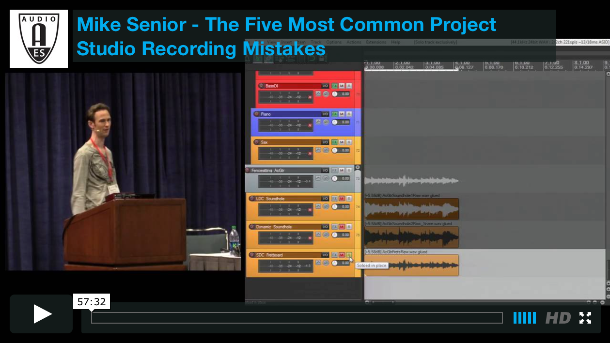 Mike Senior: The Five Most Common Project Studio Recording Mistakes (Los Angeles 2014)
