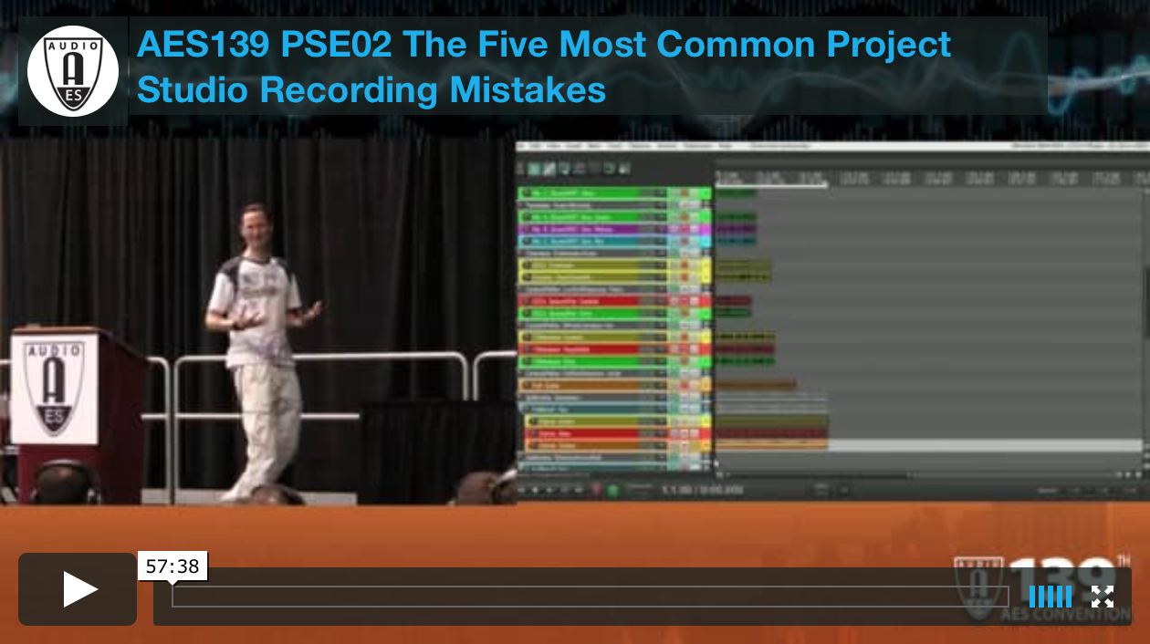 Mike Senior: The Five Most Common Project Studio Recording Mistakes (New York 2015)