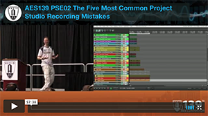 Mike Senior: The Five Most Common Project Studio Recording Mistakes (New York)