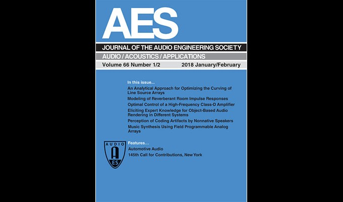 Download The Journal of the Audio Engineering Society January/February Edition - Now in the AES E-Library