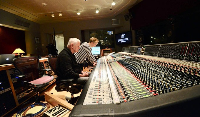 Jim Anderson (foreground) and Ulrike Schwarz, mixing at Skywalker Sound