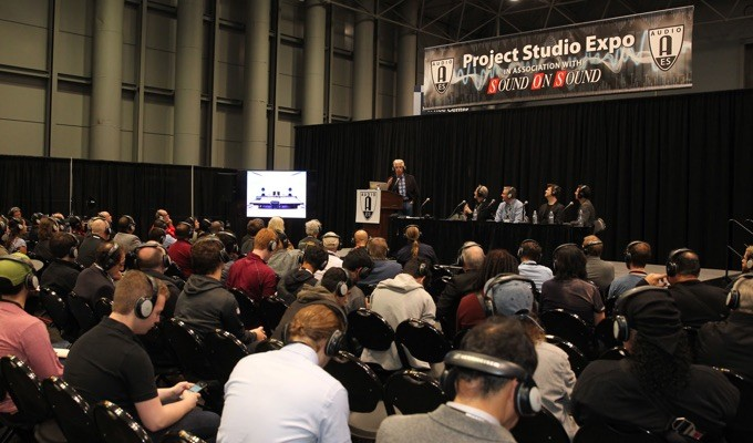 "John Storyk of the Walters-Storyk Design Group moderates the discussion ""New Frontiers in Project Studios"" during the AES New York 2017 Project Studio Expo. Joining Storyk were producer/engineers Eddie Kramer and Scott Riesett, musical director David Rosenthal and sound designer Peter Hylenski."