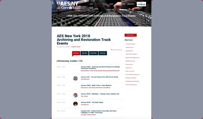 Four days of Audio Archiving and Restoration Track events are set to take place at the AES New York 2018 Convention