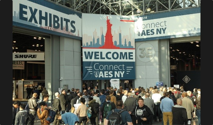 Attendees in mass await the opening of the AES 145th International Convention exhibition hall and expo stages on October 17, 2018, at the Jacob Javits Center in New York City, at the opening of four days of professional audio experiences, education and insight from leaders in the audio engineering community.