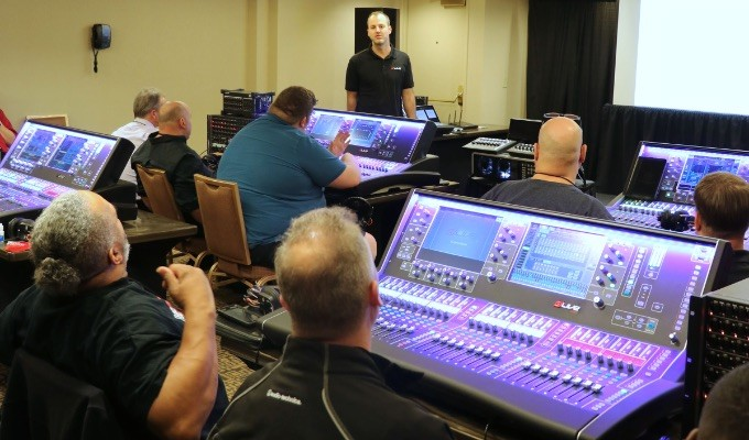 Attendees take part in Allen & Heath dLive training during AES@NAMM 2018