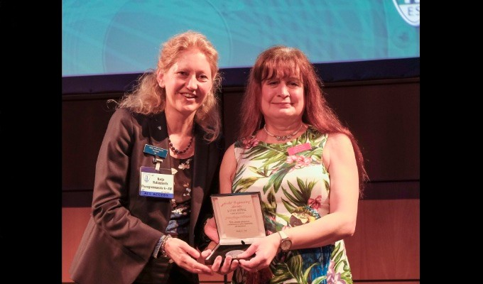 AES President Nadja Wallaszkovits presents the prestigious AES Silver Medal to AES Fellow Jamie A. S. Angus-Whiteoak for a lifetime of important contributions to audio engineering and instruction, and for outstanding achievement in the field of audio engineering.