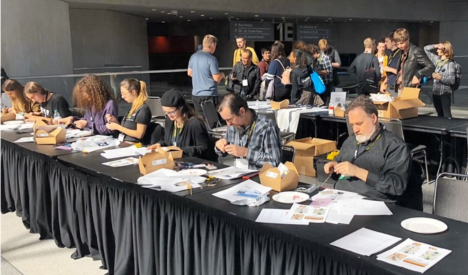 Attendees take part in an Audio Builders Workshop build during last year's AES New York 2018 Convention