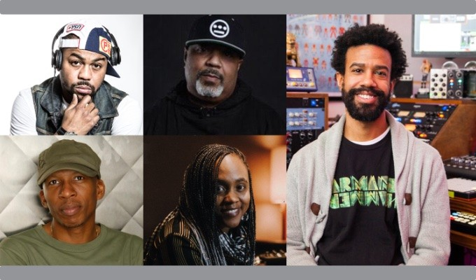 "AES New York ""Chopped and Looped — Inside the Art of Sampling for Hip-Hop"" session panelists: Top row — Just Blaze and Breakbeat Lou; Bottom row -- Hank Shocklee and Ebonie Smith; Right — AES New York Hip-Hop and R&B Track chair Paul ""Willie Green"" Womack"