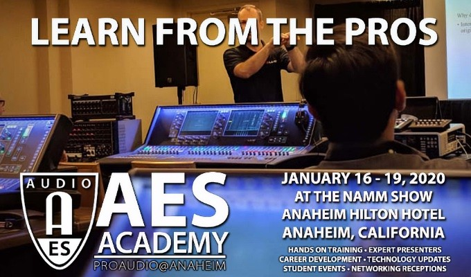 Best pricing on AES Academy passes, as well as a special offer to attend The NAMM Show 2020 at a discounted rate, can be found at aesacademy2020.com