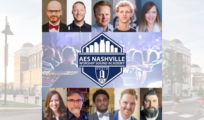 Shown (L — R) are AES Worship Sound Academy Presenters Ben Williams, Tony Staires, Jason Spence, , Luke Lasater, Jenny Youngman, Jeana Campbell, Barry Sanders, Tevin Turner, Jason Waufle and Chris Clayton.