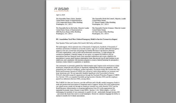 AES Joins in Call for CARES Act to Extend to Professional Organizations