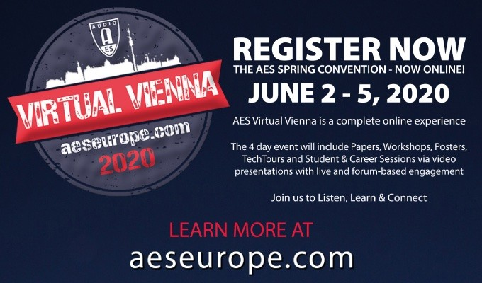 Register Now for the AES Virtual Vienna Convention, taking place online June 2 — 5