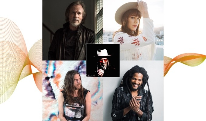 "AES Show Fall 2020 Convention feature Keynote event ""Let the Rhythm Lead: How the Chemistry of People and the Recording Process Fosters Inspiration"" will take place on October 30 at 3:30pm EDT. Shown clockwise L-R: Jackson Browne, Jenny Lewis, Paul Beaubrun, Jonathan Wilson; Scott Goldman center"