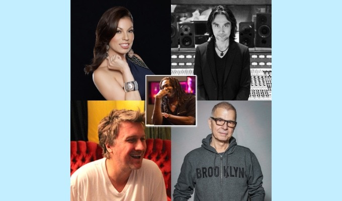 "AES Show Fall 2020 Convention Platinum Engineers Special Event ""Recording — Then, Now and Future"" will take place Friday, October 30, at 1:00pm EDT. Panelists, shown clockwise L-R: Marcella Araica, Russell Elevado, Tony Visconti, Joe Zook; moderator Jimmy Douglass, center"