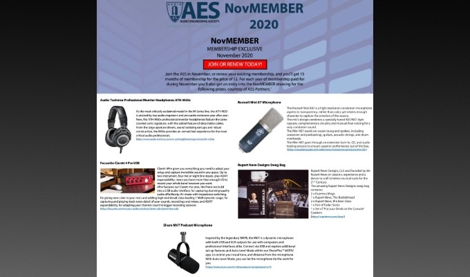 The Audio Engineering Society has announced winners of its NovMember membership promotion giveaway