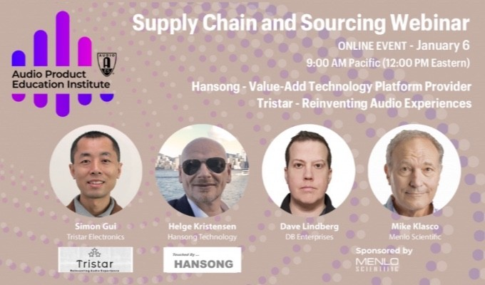 The AES Audio Product Education Institute will host its fourth online event addressing Supply Chain & Sourcing on Wednesday, January 6, at 12:00pm EST.