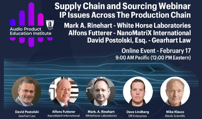 The AES Audio Product Education Institute will discuss securing your Intellectual Property and protecting your brand in its fifth online event addressing Supply Chain & Sourcing on Wednesday, February 17, at 12:00pm EST.
