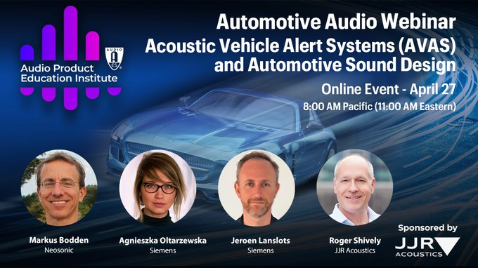 AES Audio Product Education Institute to Highlight Acoustic Vehicle Alert Systems and Automotive Sound Design