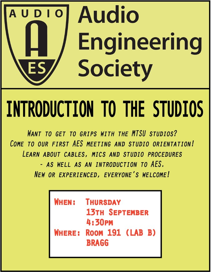 Introduction to the Studios and AES