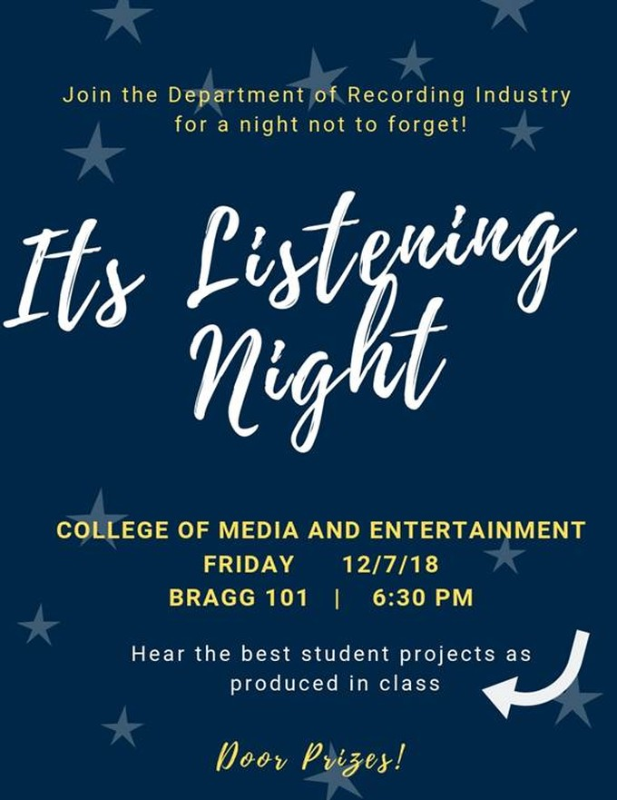 Fall 2018 Audio Production/Recording Industry Listening Night