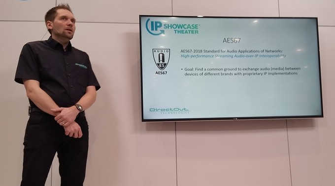 "Claudio Becker-Foss presenting ""AES67 and ST2110-30 Interoperability in Real Life"""