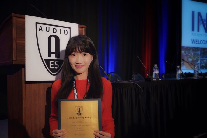 Bo Pang accepts her Gold Award in the Sound for Visual Media category.