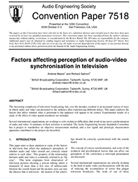 AES E-Library » Factors Affecting Perception of Audio-Video
