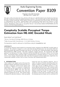 AES E-Library » Complexity Scalable Perceptual Tempo Estimation from