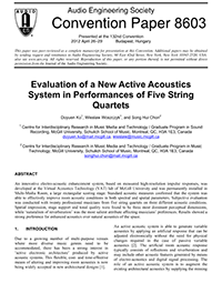 AES E-Library » Evaluation of a New Active Acoustics System in