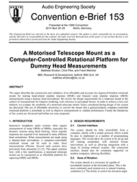 AES E-Library » A Motorized Telescope Mount as A Computer-Controlled