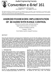AES E-Library » Android Framework Implementation of 3D Audio with