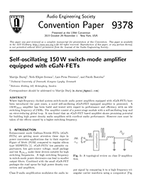 AES E-Library » Self-Oscillating 150 W Switch-Mode Amplifier