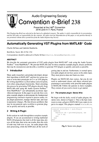 AES E-Library » Automatically Generating VST Plugins from MATLAB Code