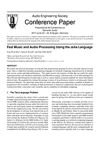 AES E-Library » Fast Music and Audio Processing Using the