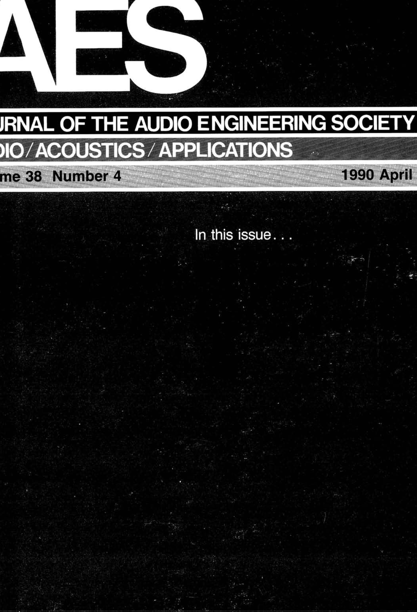 AES E-Library » Complete Journal: Volume 38 Issue 4