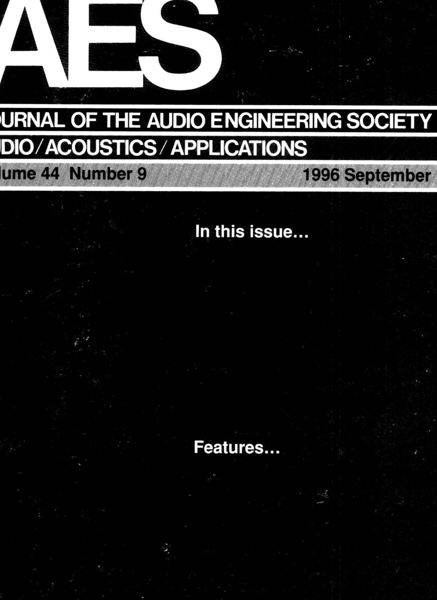 Aes E Library Complete Journal Volume 44 Issue 9