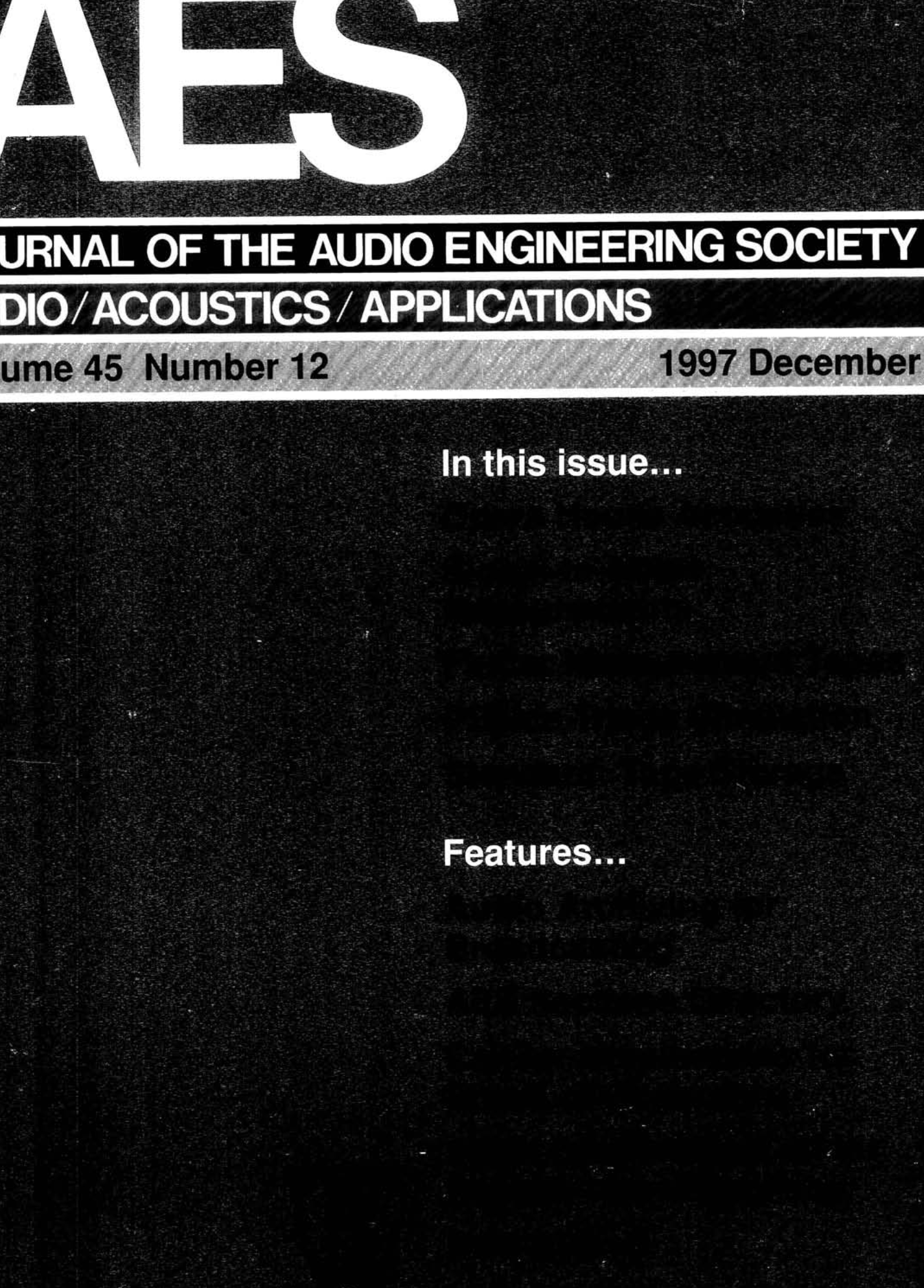 AES E Library » Complete Journal Volume 21 Issue 21