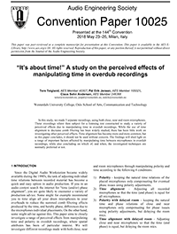 AES E-Library » It's about Time! A Study on the Perceived