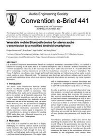 AES E-Library » Wearable Mobile Bluetooth Device for Stereo