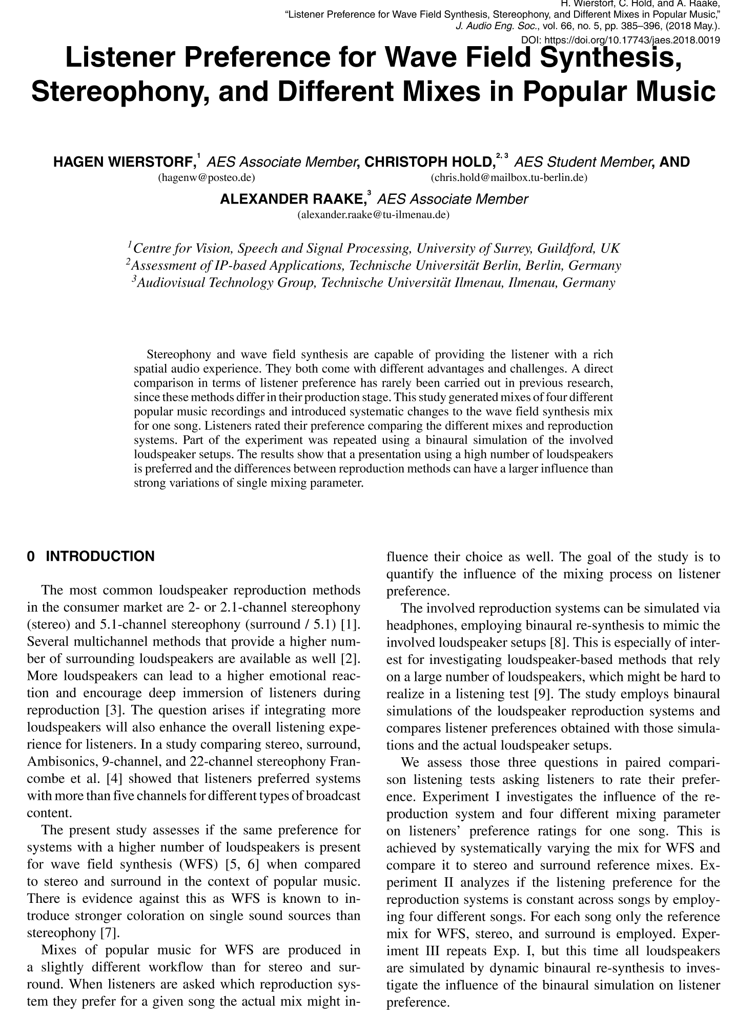 AES E-Library » Listener Preference for Wave Field Synthesis ...