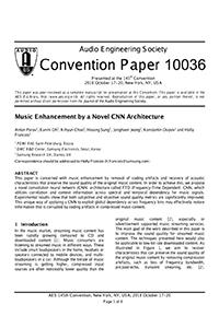AES E-Library » Music Enhancement by a Novel CNN Architecture