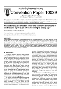 AES E-Library » Characterizing the Effect on Linear and