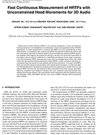 AES E-Library » Fast Continuous Measurement of HRTFs with