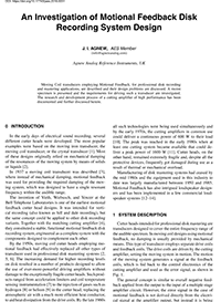 AES E-Library » An Investigation of Motional Feedback Disk