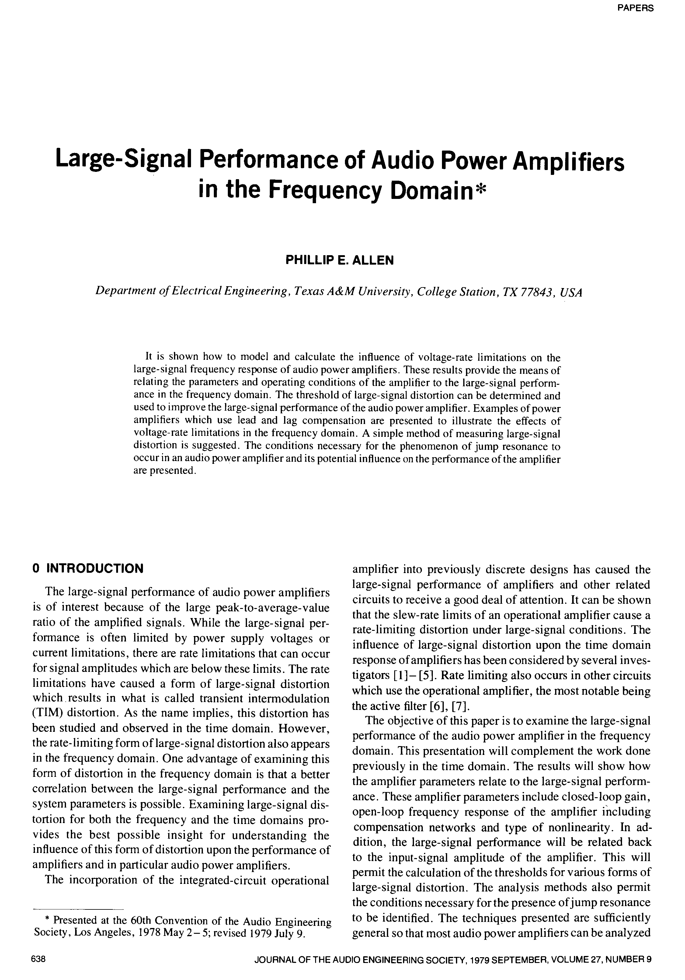 AES E-Library » Large Signal Performance of Audio Power Amplifiers in the  Frequency Domain