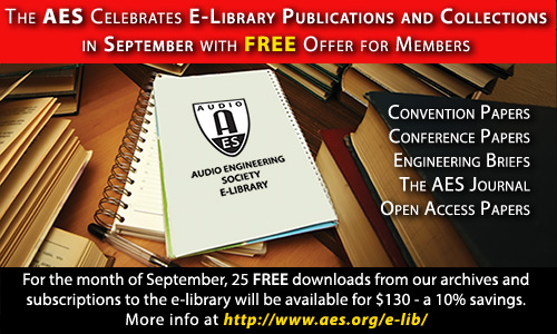 The AES Celebrates Its E-Library Publications and Collections in September with FREE Offer for Members