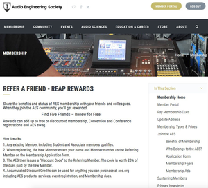 Audio Engineering Society's New Refer-a-Friend Program Offers Members a Chance to Gain Free Membership, Event Access and More