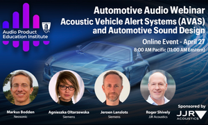 AES Audio Product Education Institute Webinar to Explore Acoustic Vehicle Alert Systems (AVAS) and Automotive Sound Design